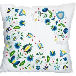 Stickpackung mit Kissenbezug - Kissen mit Blumenmotiv