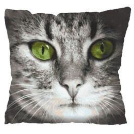 Stickpackung mit Kissenbezug - Kissen - Katze mit grünen Augen