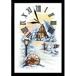 Stickpackung mit Stickgarn, Uhrwerk und Rahmen - Winter Uhr