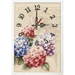Stickpackung mit Stickgarn, Uhrwerk und Rahmen - Uhr mit Hortensien