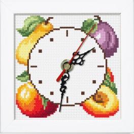 Stickpackung mit Stickgarn, Uhrwerk und Rahmen - Uhr mit den Früchten