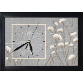 Stickpackung mit Stickgarn, Uhrwerk und Rahmen - Uhr mit Spinnennetz