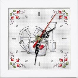 Stickpackung mit Stickgarn, Uhrwerk und Rahmen - Uhr - Blumen aus dem Garten