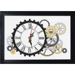 Stickpackung mit Stickgarn, Uhrwerk und Rahmen - Steampunk-Uhr