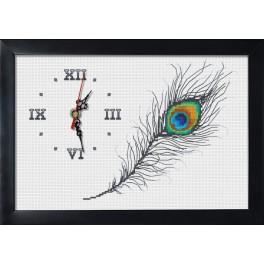 Stickpackung mit Stickgarn, Uhrwerk und Rahmen - Uhr mit Pfauenfeder