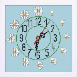 Stickpackung mit Stickgarn, Uhrwerk und Rahmen - Uhr mit Gänseblümchen