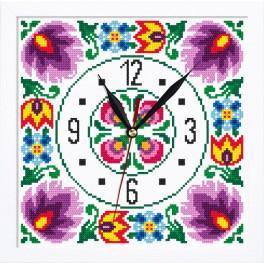 Stickpackung mit Stickgarn, Uhrwerk und Rahmen - Ethnische Uhr