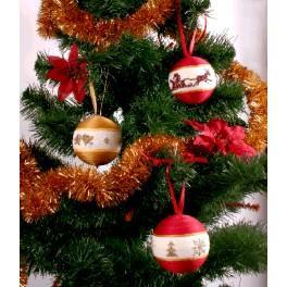 Stickpackung - Weihnachtskugeln (rot und golden)