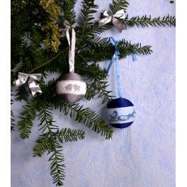 Stickpackung - Weihnachtskugeln (marineblau und silbern)