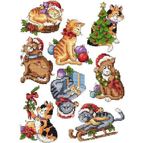 Set mit Stickgarn - Weihnachtskatzen