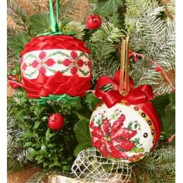 Stickpackung - Weihnachtskugeln mit Flittern