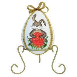 Stickpackung - Osterei mit Hasen und Narzissen