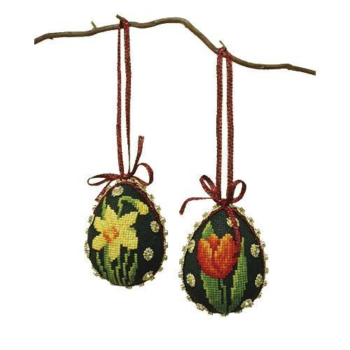 Stickpackung - Osterneier - Bunte Blumen