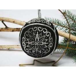 Stickpackung mit Stickgarn und Kugel - Weihnachtskugel – Elegantes Schwarz
