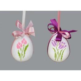 Stickpackung - Osterei mit Blumen - Stiefmütterchen und Jonquille