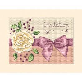 Stickpackung - Karte - Einladung - Rose
