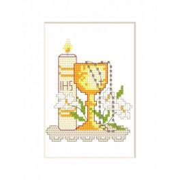 Stickpackung - Kommunion-Karte - Kerze und Kelch