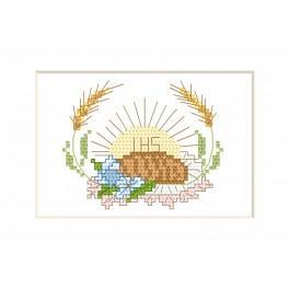 Stickpackung - Kommunion-Karte - Hostie und Brot