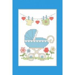 ZU 8614-02 Stickpackung - Geburtskarte - Geburt eines Jungen