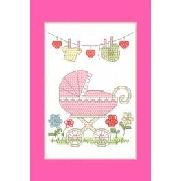 ZU 8614-01 Stickpackung - Geburtskarte - Geburt eines Mädchens