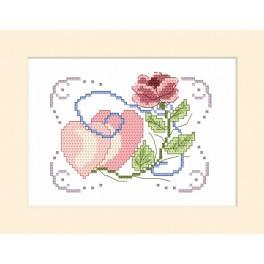 ZU 4355 Stickpackung - Hochzeitskarte - Rose mit zwei Herzen