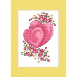 ZU 4984 Stickpackung - Hochzeitskarte - Die Herzchen
