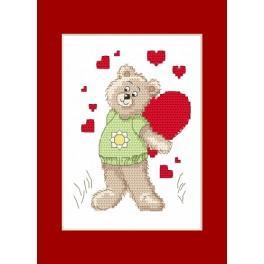 Stickpackung - Valentinstagskarten - Der kleine Bär mit einem Herzen