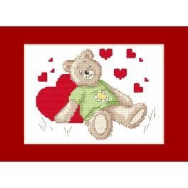 Stickpackung - Valentinstagskarten - Das schlafende Bärchen