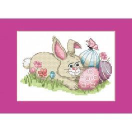 Stickpackung - Osternkarte - Hase mit Ostereiern