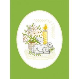 Stickpackung - Osternkarte - Lämmchen mit Fähnlein