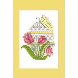 Stickpackung - Osternkarte - Osterei mit Tulpen