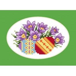 Stickpackung - Osternkarte - Küchenschelle