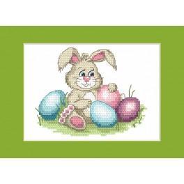 Stickpackung - Osternkarte - Lustiger Hase
