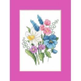 Stickpackung - Osternkarte - Frühlingsstrauß