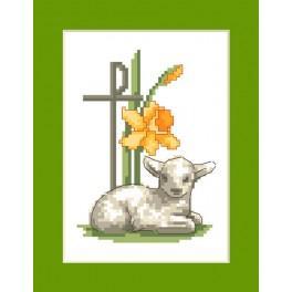 Stickpackung - Osternkarte - Osterlamm