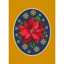 Stickpackung - Weihnachtskarte - Poinsettie mit Sternchen