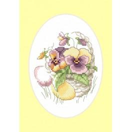 Stickpackung - Osternkarte - Stiefmütterchen