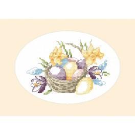 Stickpackung - Osternkarte - Korb mit Eiern