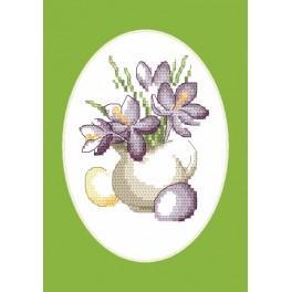Stickpackung - Osternkarte - Krokusse