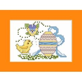 Stickpackung - Osternkarte - Küken zum Osterei