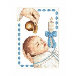 Zestaw z muliną, koralikami i kartką - Kartka - Chrzest chłopczyka