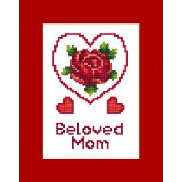ZUI 8473 Zestaw z muliną, koralikami i kartką - Kartka – Dzień Matki