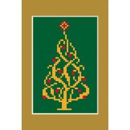 ZUI 4948-02 Zestaw z muliną, koralikami i kartką - Kartka świąteczna - Błyszcząca choinka
