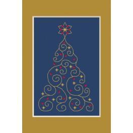 ZUI 4948-01 Zestaw z muliną, koralikami i kartką - Kartka świąteczna - Choinka z gwiazdkami
