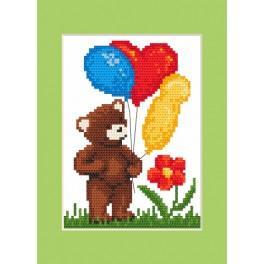 ZUI 8421 Zestaw z muliną, koralikami i kartką - Kartka urodzinowa - Miś z balonikami
