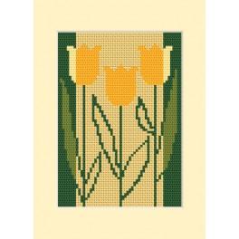 ZUI 8413 Zestaw z muliną, koralikami i kartką - Kartka urodzinowa - Trzy tulipany