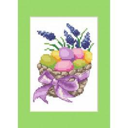 Zestaw z muliną, koralikami i kartką - Kartka wielkanocna - Wielkanocne pisanki