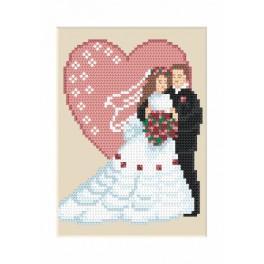ZUI 4906 Zestaw z muliną, koralikami i kartką – Kartka ślubna