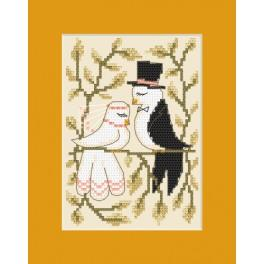 Zestaw z muliną, koralikami i kartką – Kartka ślubna