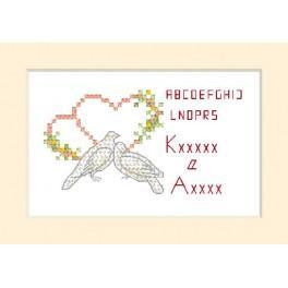 ZU 2102 Stickpackung - Hochzeitskarte - Zwei Tauben